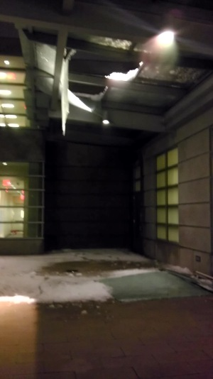 The awning outside of Student Village 2 collapsed this evening under the weight of heavy snow.